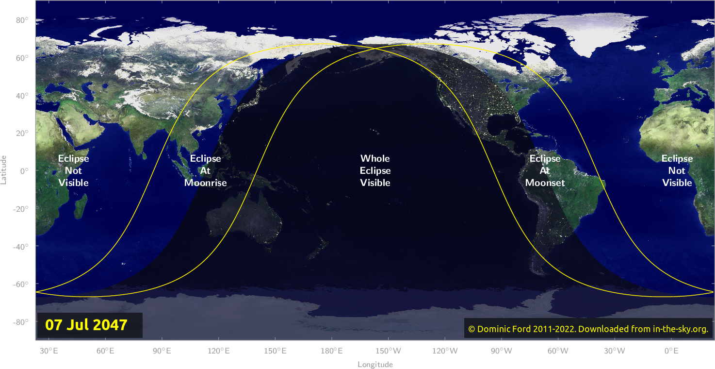 Map of where the eclipse of July 2047 will be visible.