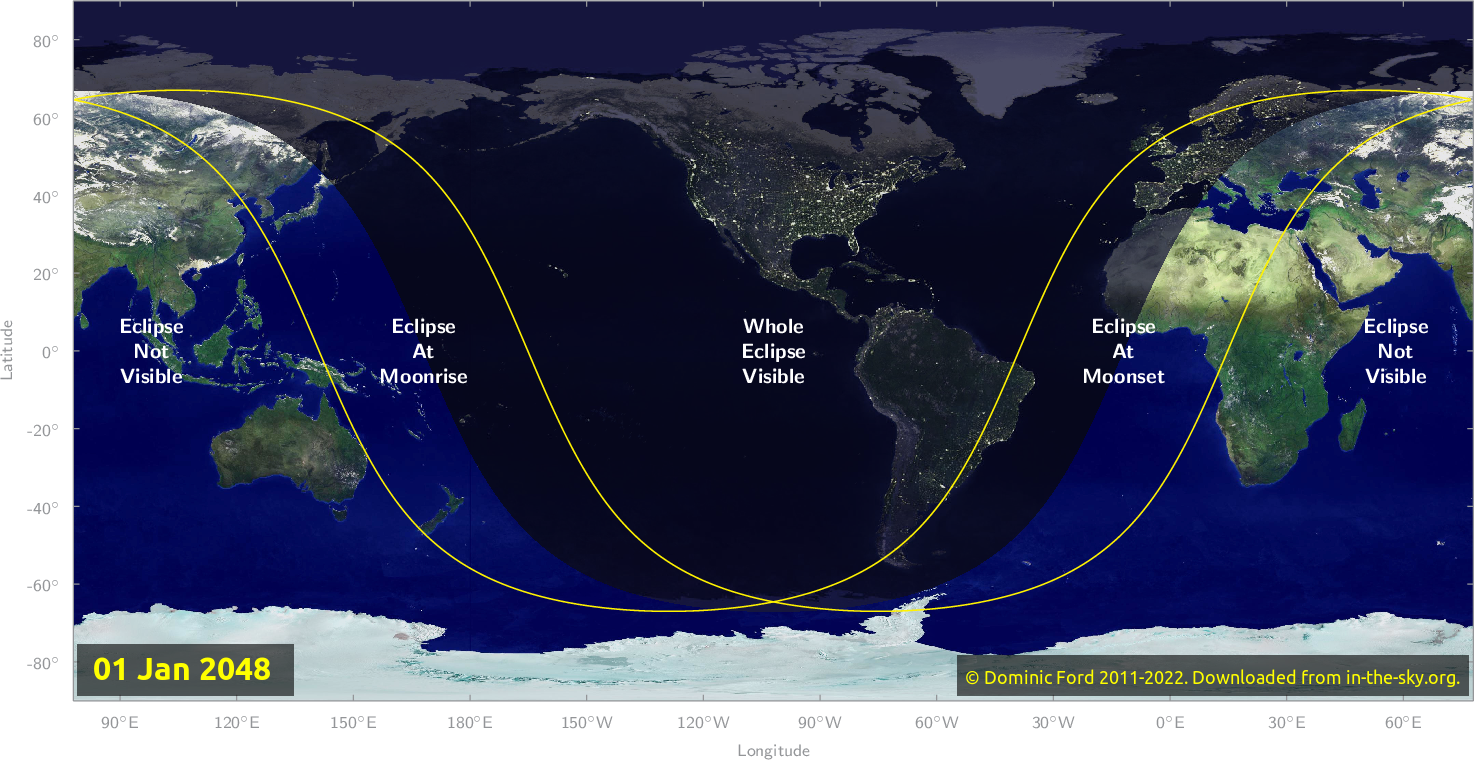 Map of where the eclipse of January 2048 will be visible.