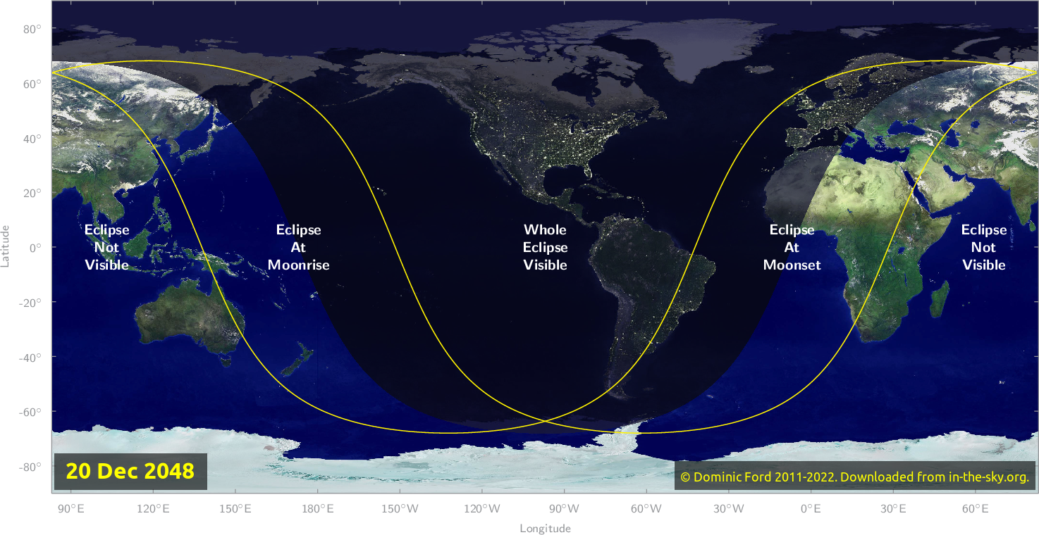 Map of where the eclipse of December 2048 will be visible.