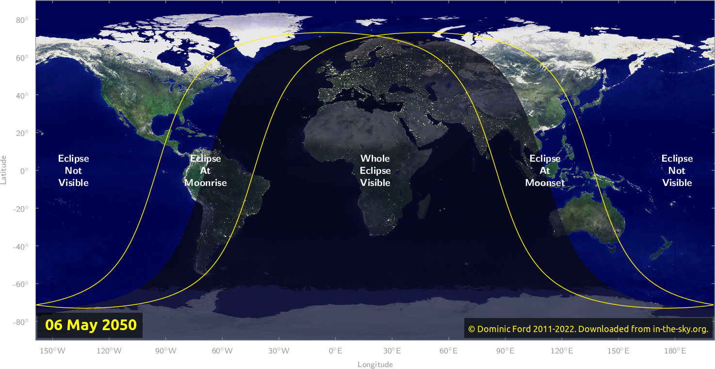 Map of where the eclipse of May 2050 will be visible.