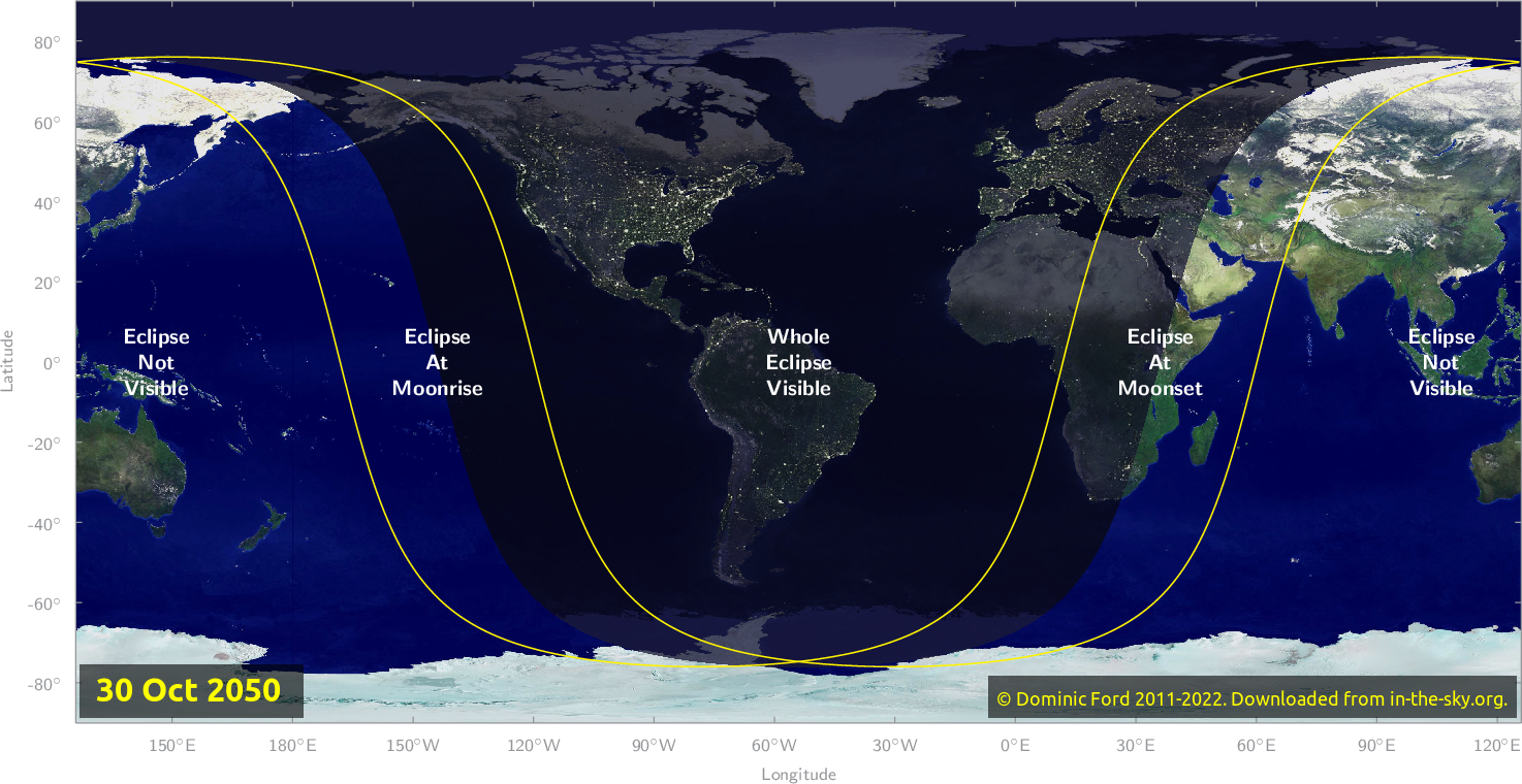 Map of where the eclipse of October 2050 will be visible.