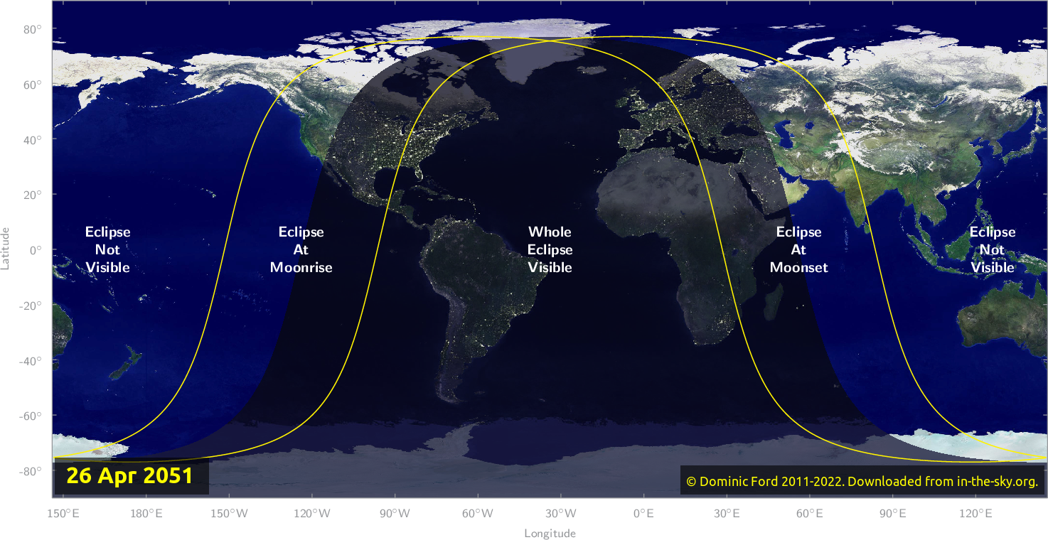 Map of where the eclipse of April 2051 will be visible.