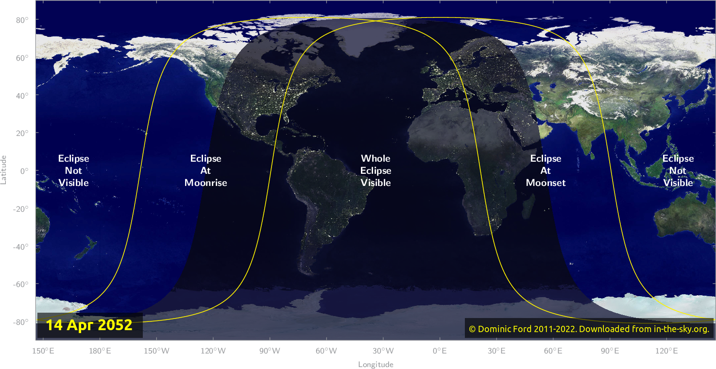 Map of where the eclipse of April 2052 will be visible.