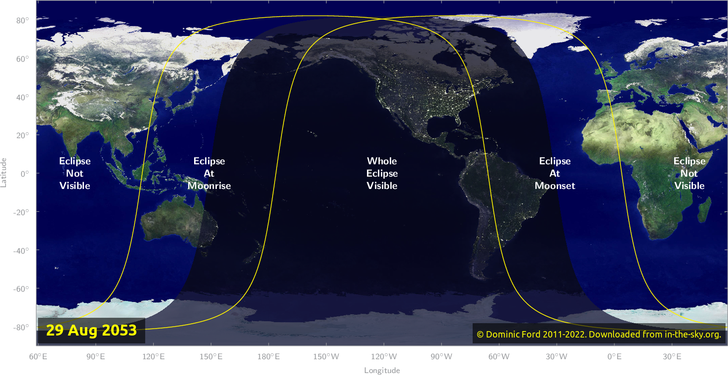 Map of where the eclipse of August 2053 will be visible.