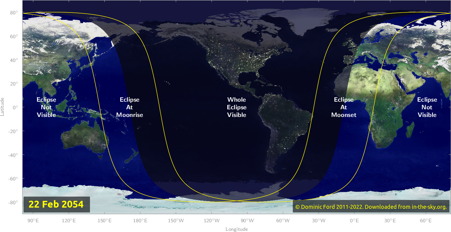 Map of where the eclipse of February 2054 will be visible.
