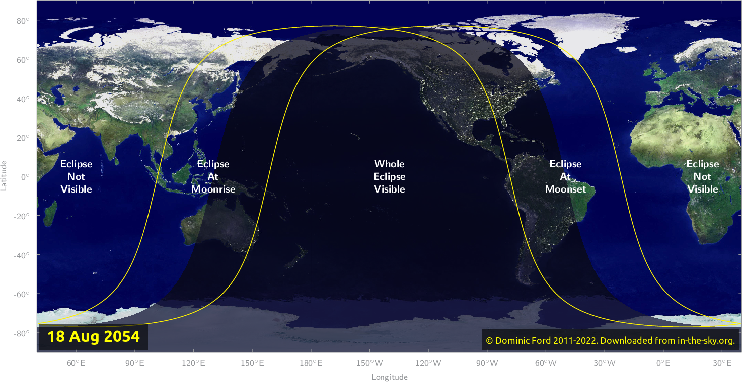Map of where the eclipse of August 2054 will be visible.