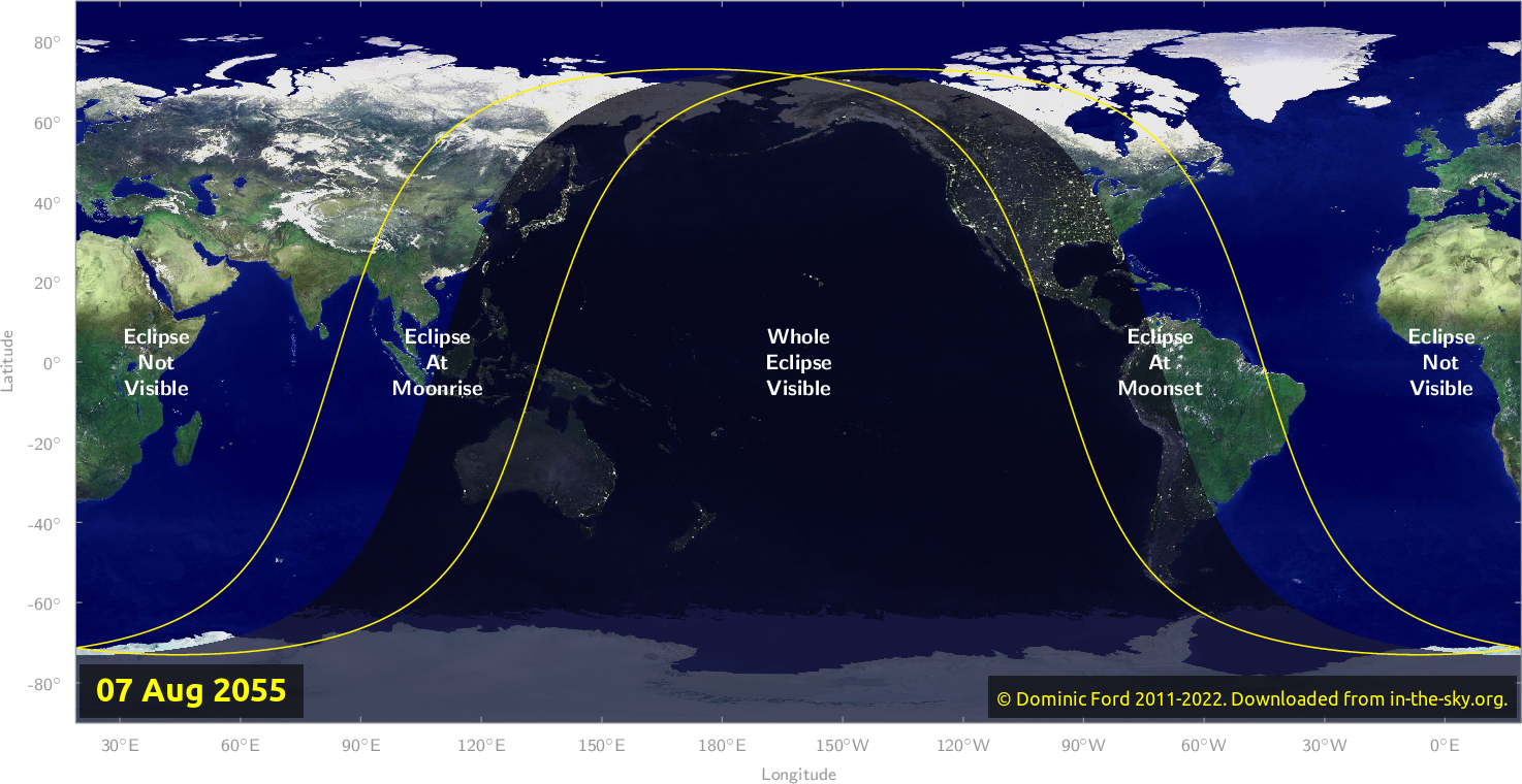 Map of where the eclipse of August 2055 will be visible.
