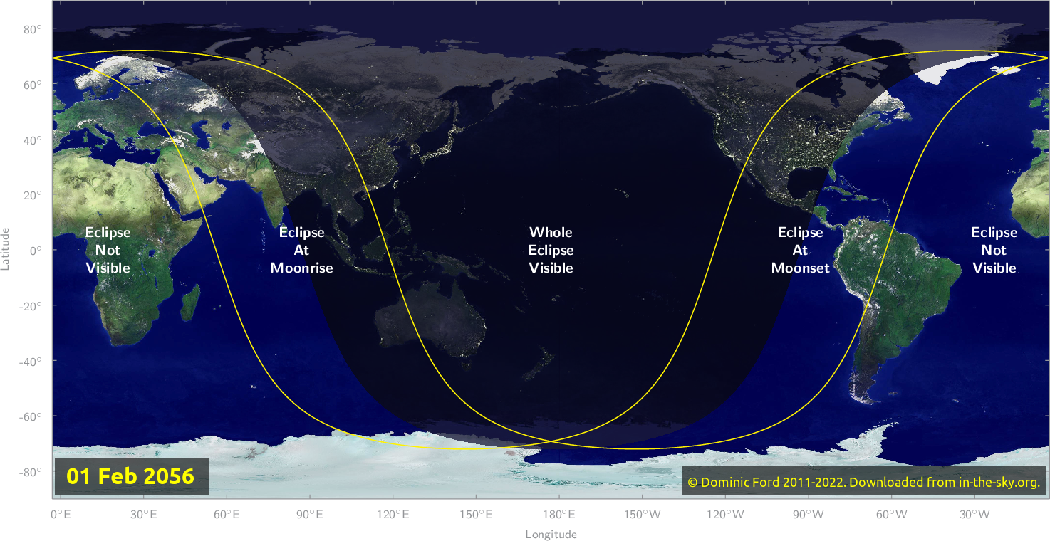 Map of where the eclipse of February 2056 will be visible.