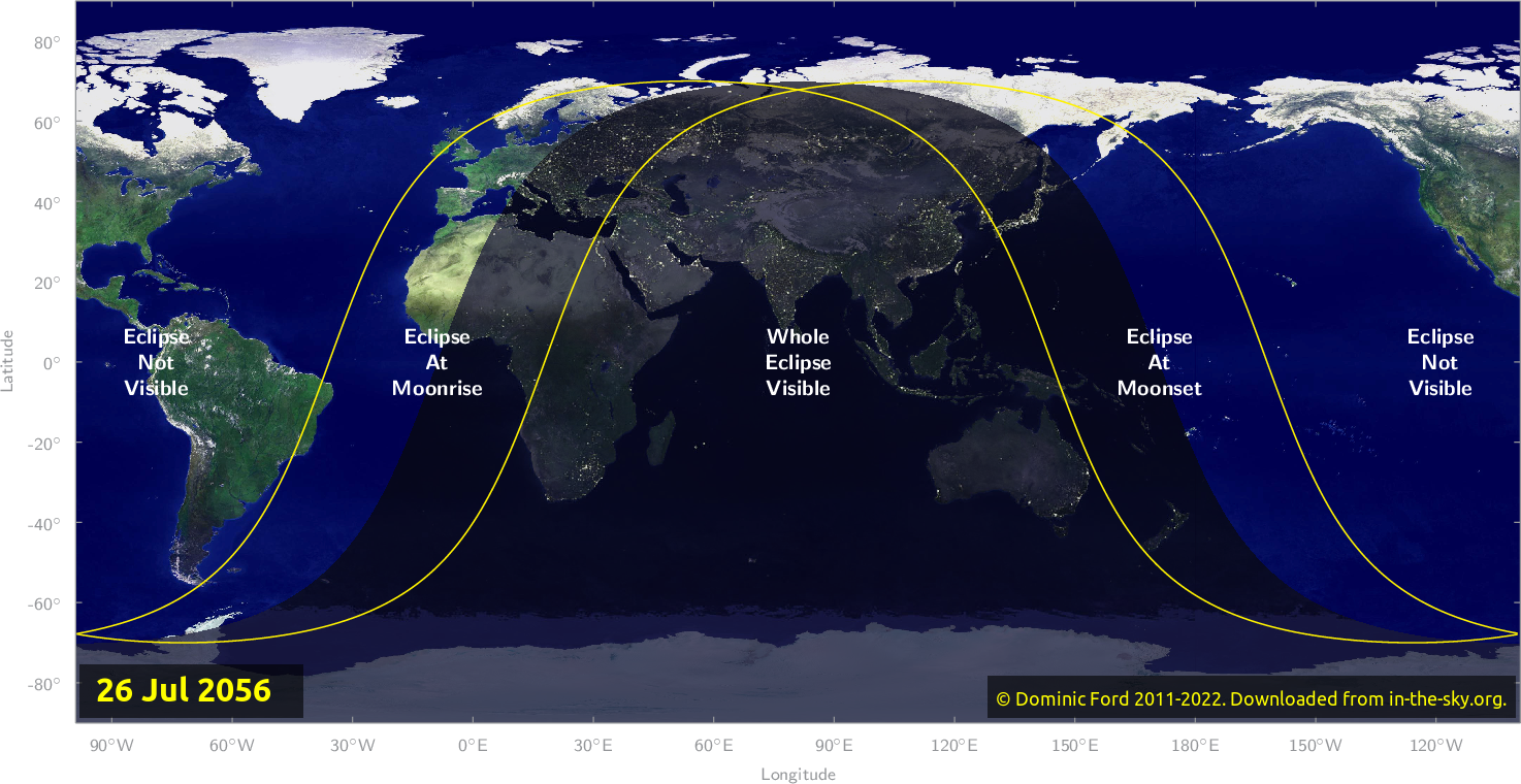 Map of where the eclipse of July 2056 will be visible.