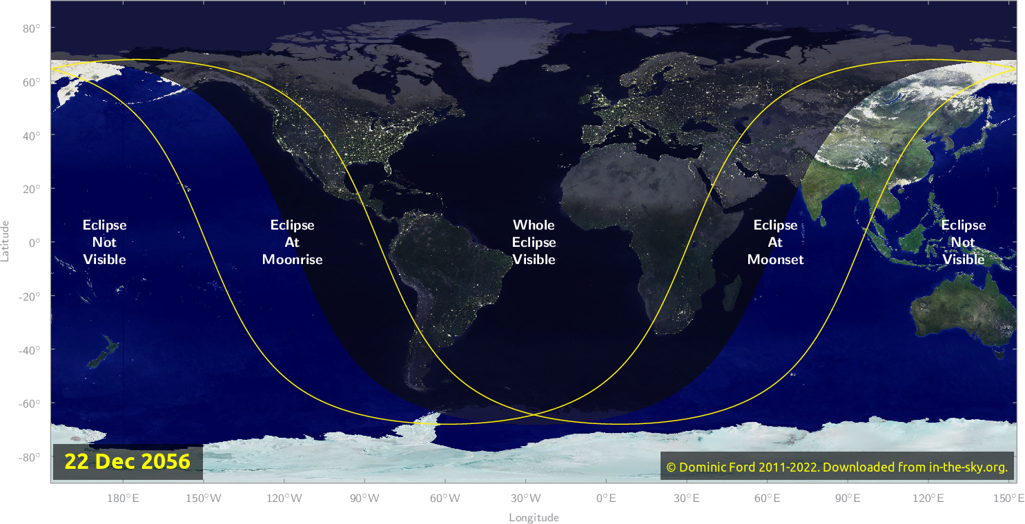 Map of where the eclipse of December 2056 will be visible.