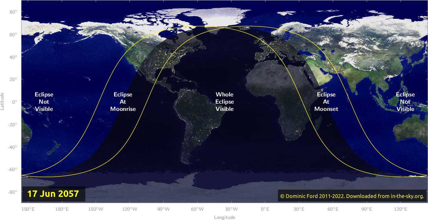 Map of where the eclipse of June 2057 will be visible.