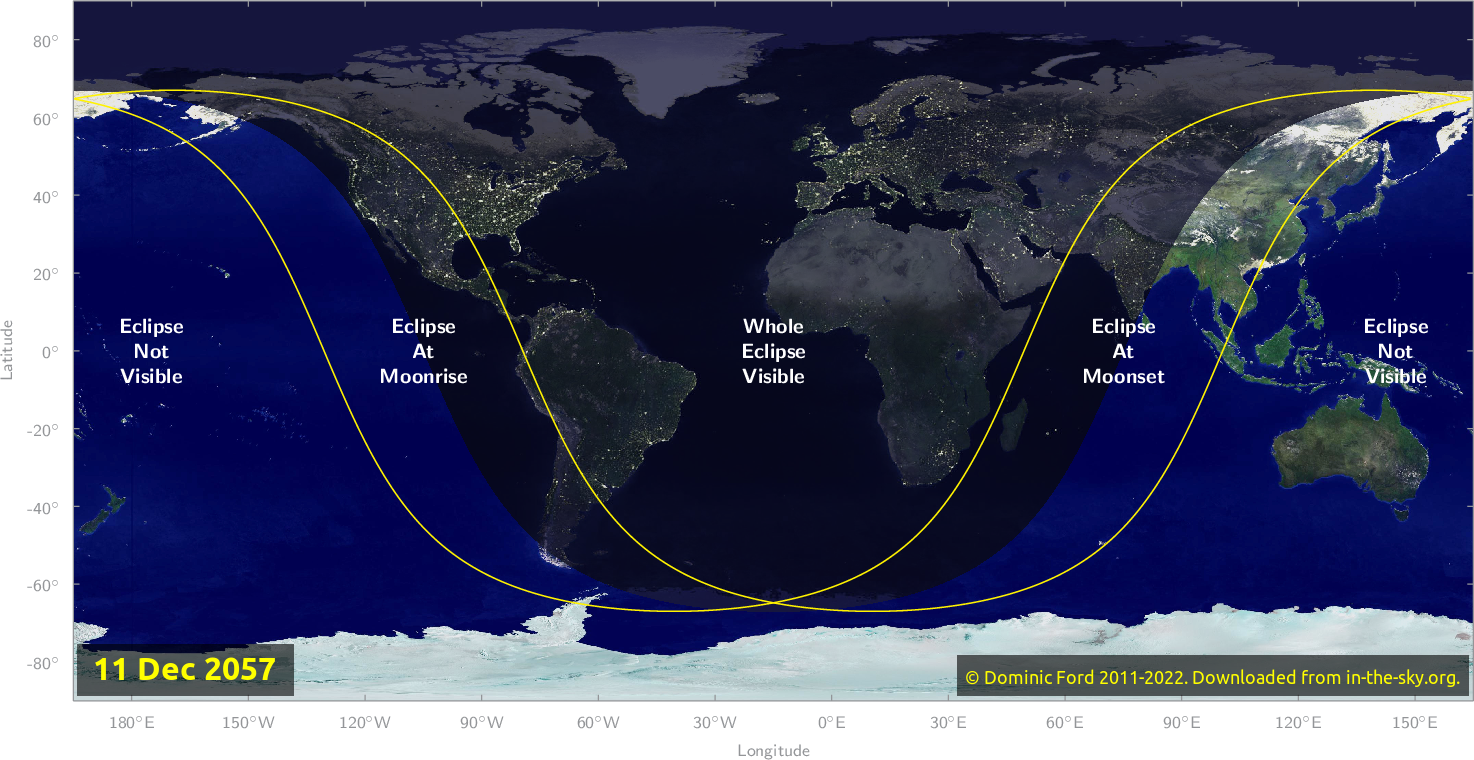 Map of where the eclipse of December 2057 will be visible.