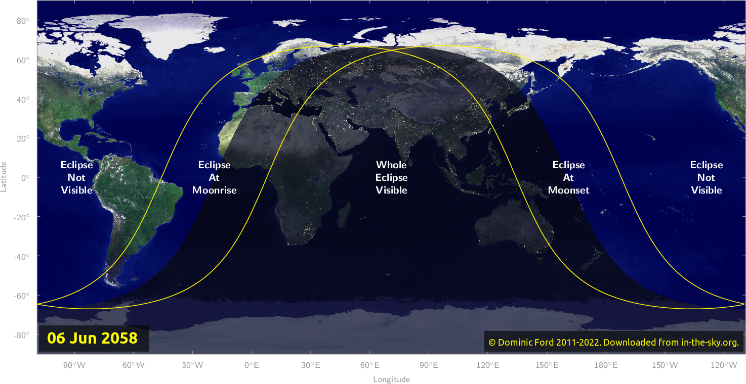 Map of where the eclipse of June 2058 will be visible.