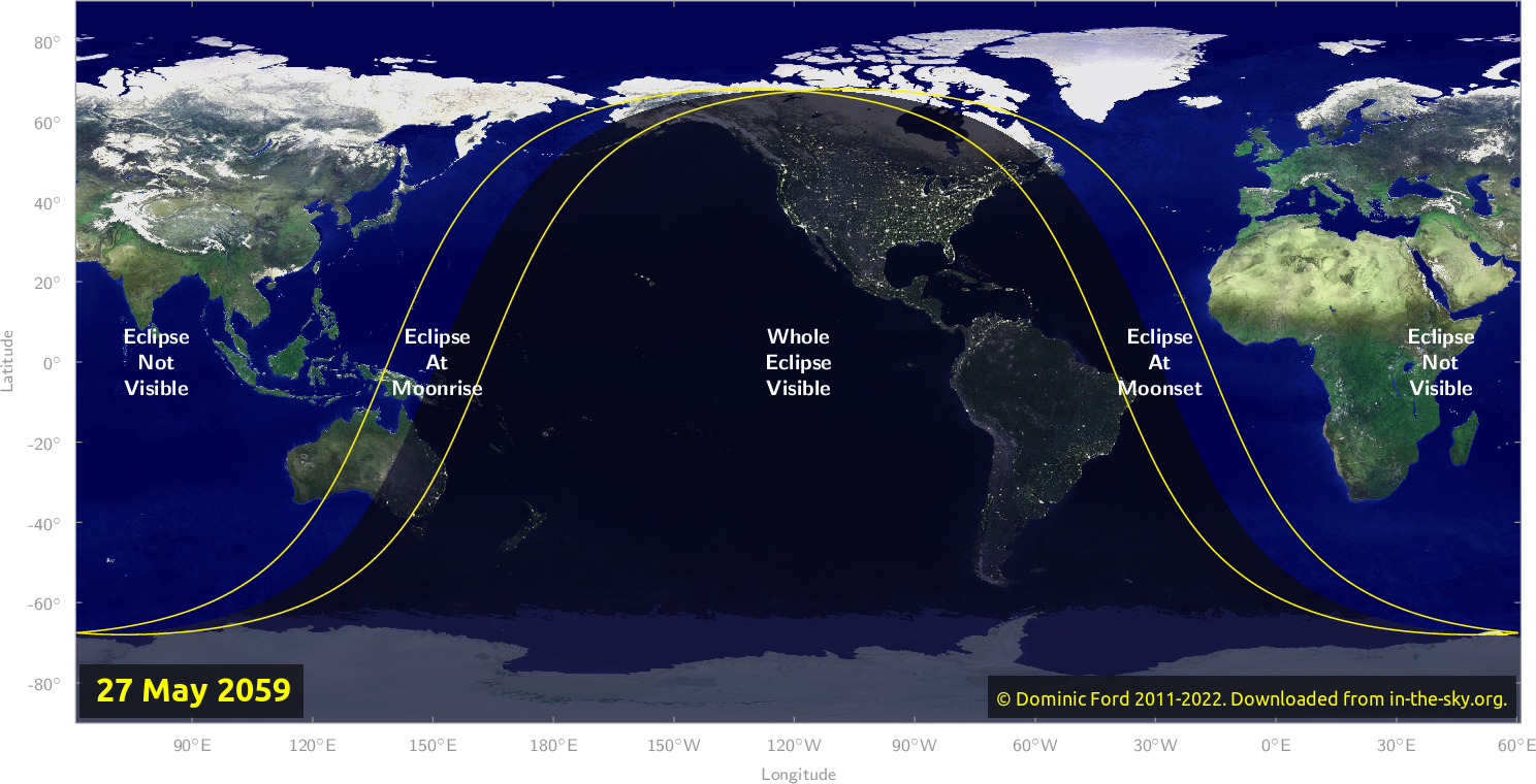 Map of where the eclipse of May 2059 will be visible.