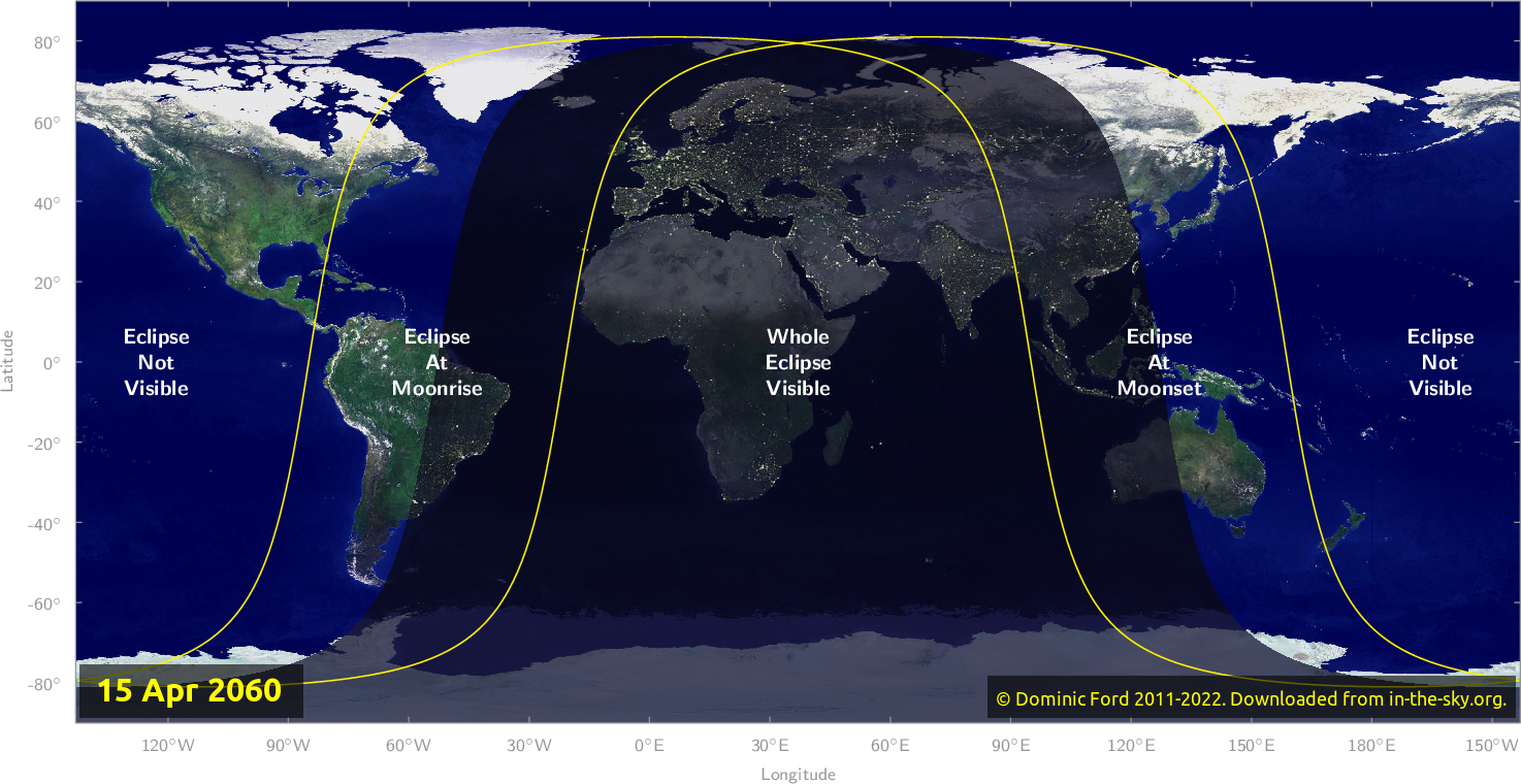 Map of where the eclipse of April 2060 will be visible.