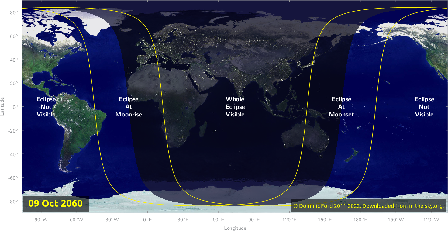 Map of where the eclipse of October 2060 will be visible.