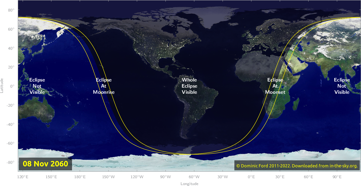 Map of where the eclipse of November 2060 will be visible.