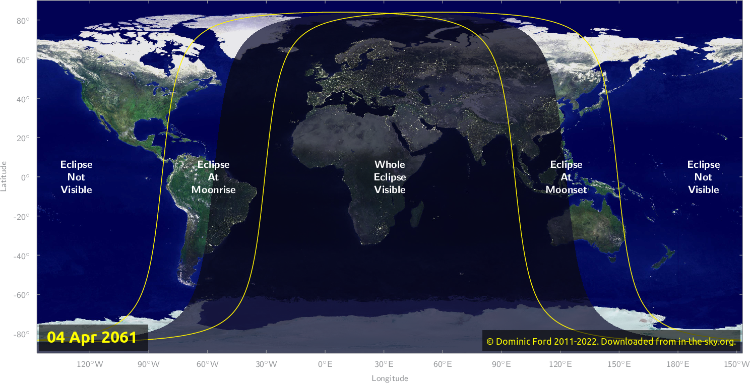 Map of where the eclipse of April 2061 will be visible.