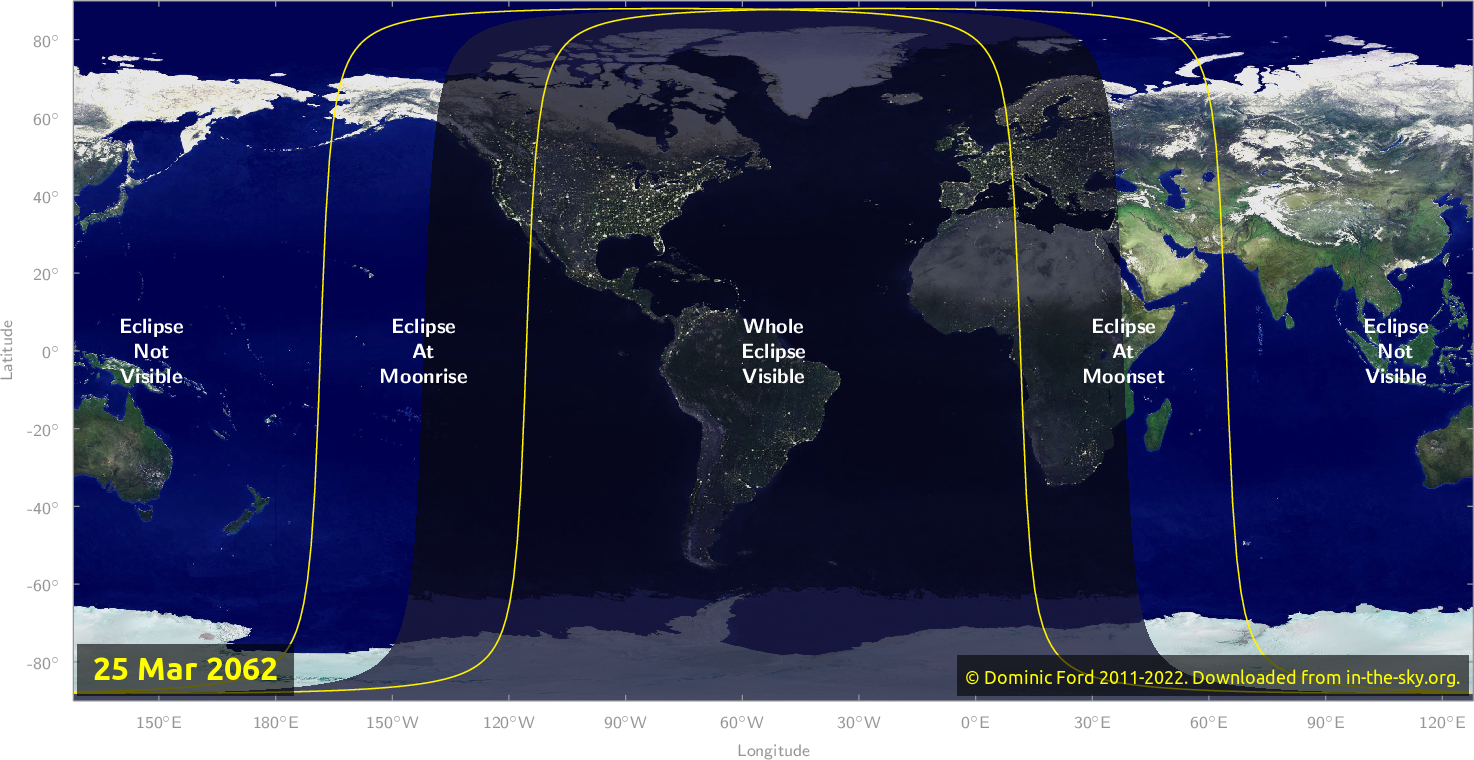 Map of where the eclipse of March 2062 will be visible.