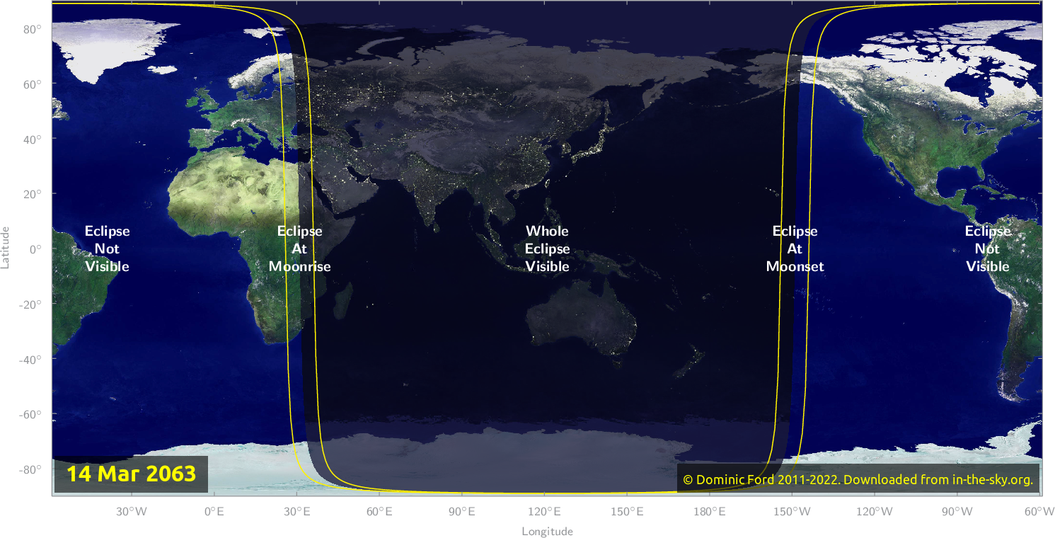 Map of where the eclipse of March 2063 will be visible.
