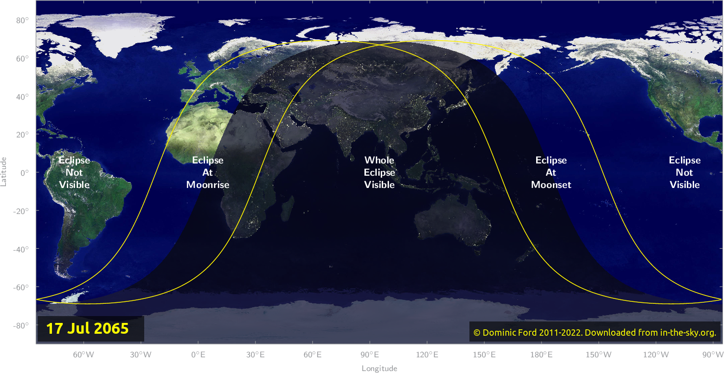 Map of where the eclipse of July 2065 will be visible.