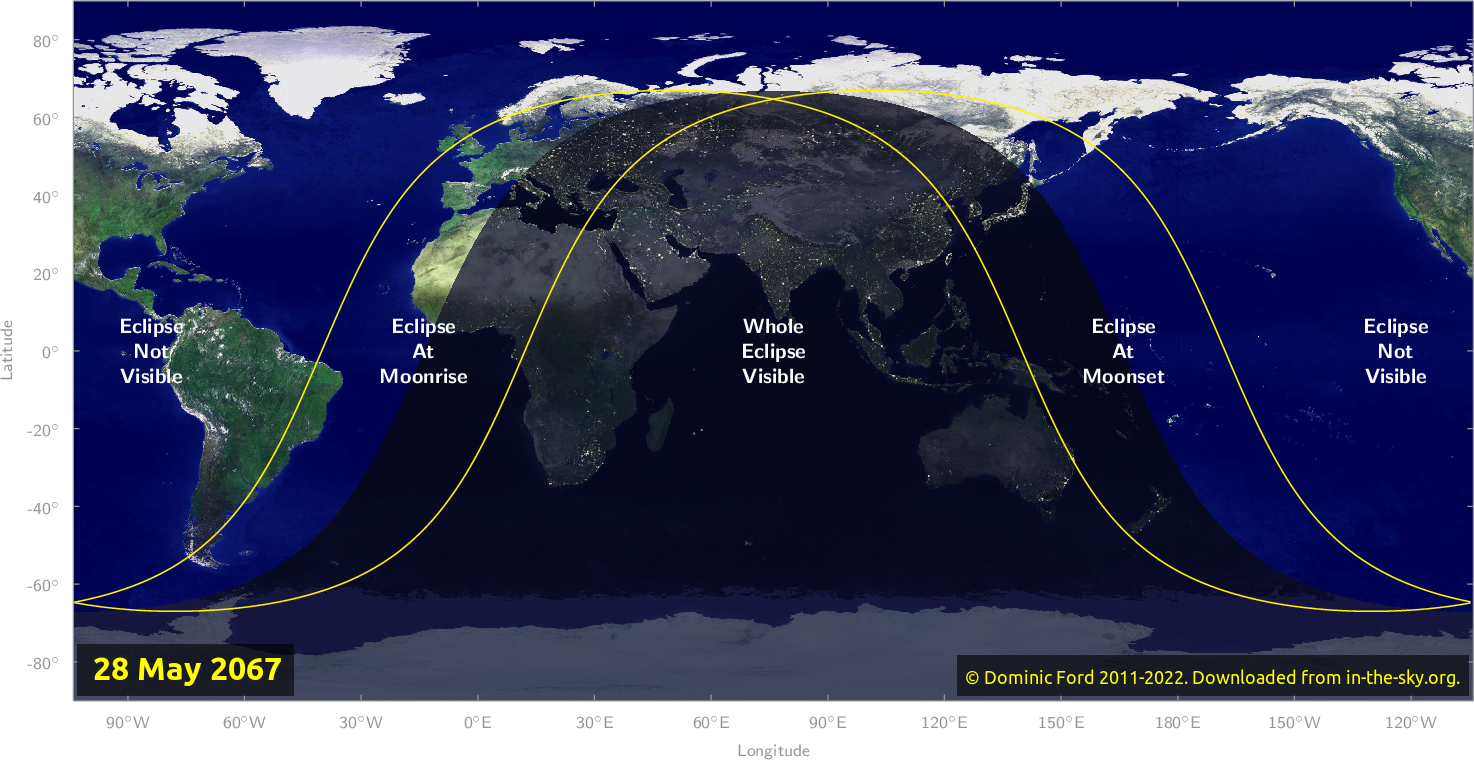 Map of where the eclipse of May 2067 will be visible.