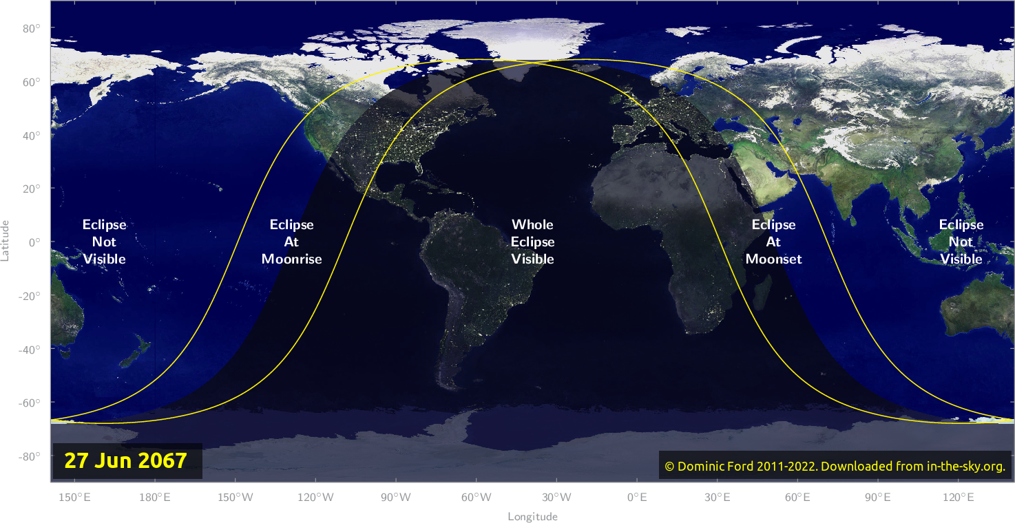 Map of where the eclipse of June 2067 will be visible.