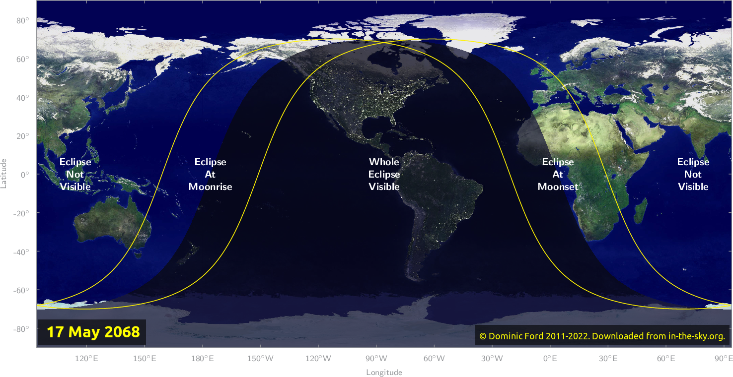 Map of where the eclipse of May 2068 will be visible.