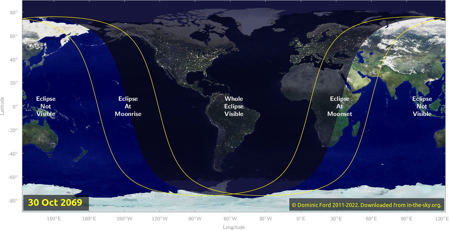 Map of where the eclipse of October 2069 will be visible.