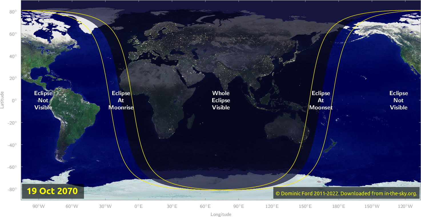 Map of where the eclipse of October 2070 will be visible.