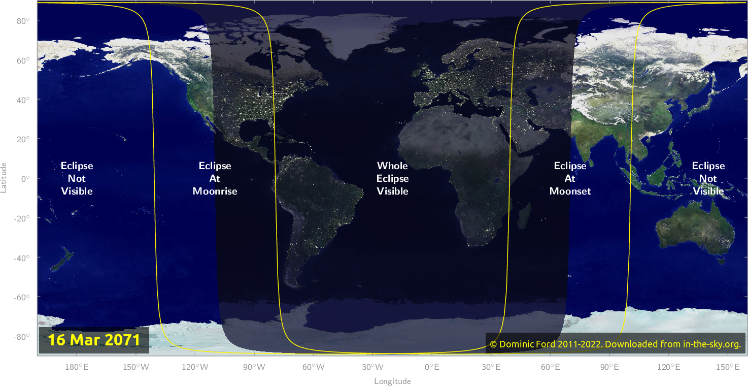 Map of where the eclipse of March 2071 will be visible.