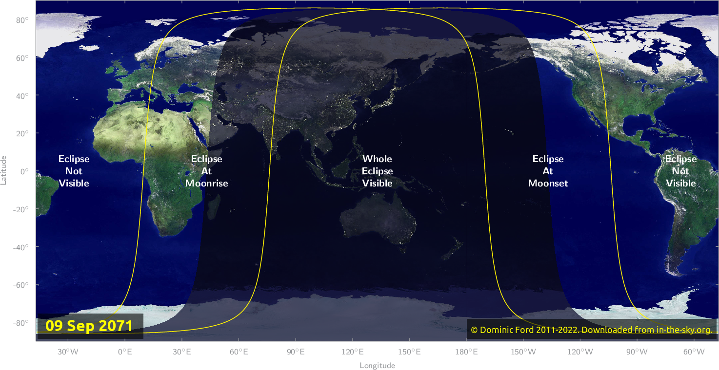 Map of where the eclipse of September 2071 will be visible.