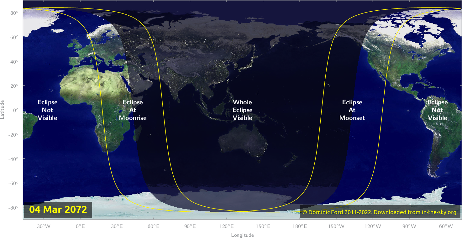 Map of where the eclipse of March 2072 will be visible.