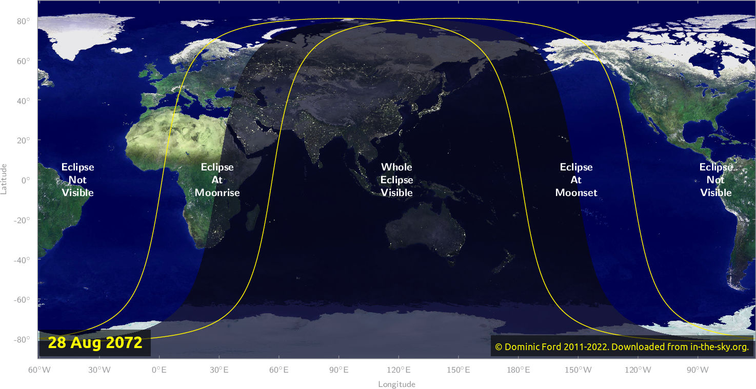 Map of where the eclipse of August 2072 will be visible.