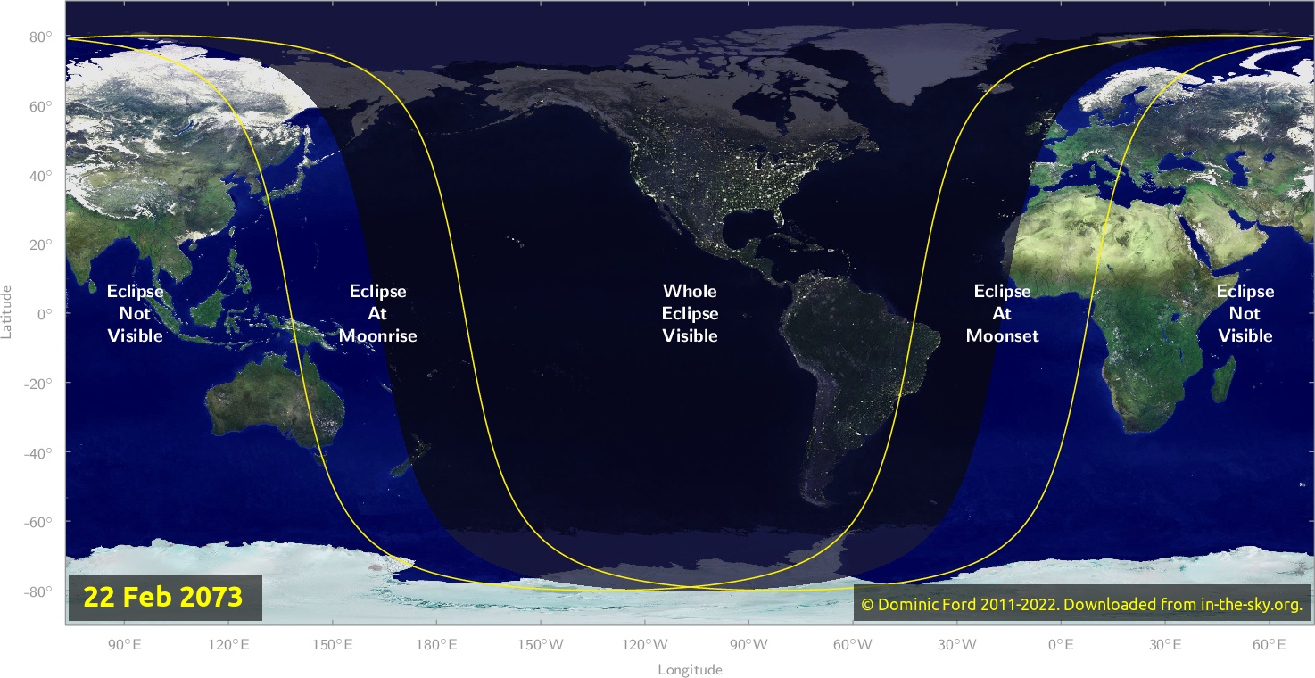 Map of where the eclipse of February 2073 will be visible.