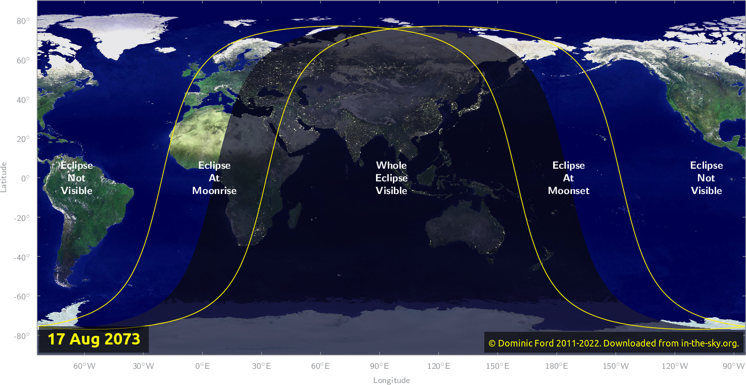 Map of where the eclipse of August 2073 will be visible.