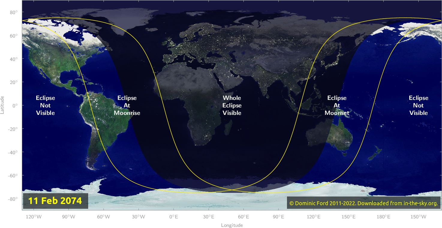 Map of where the eclipse of February 2074 will be visible.