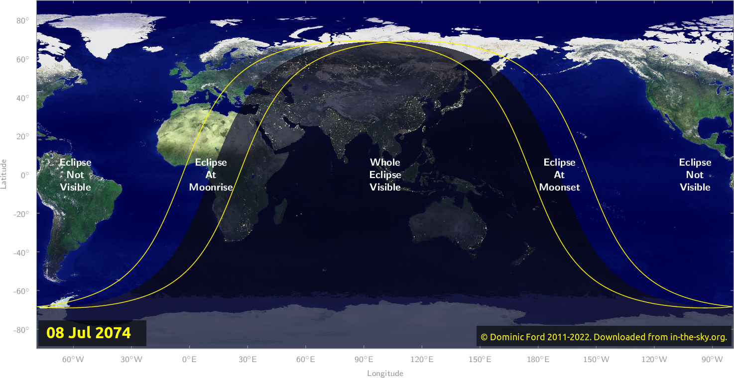 Map of where the eclipse of July 2074 will be visible.