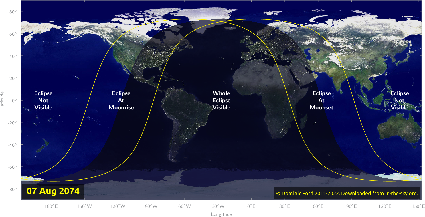 Map of where the eclipse of August 2074 will be visible.