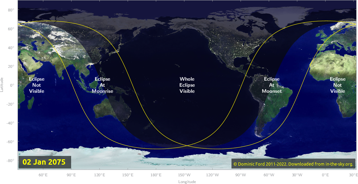 Map of where the eclipse of January 2075 will be visible.