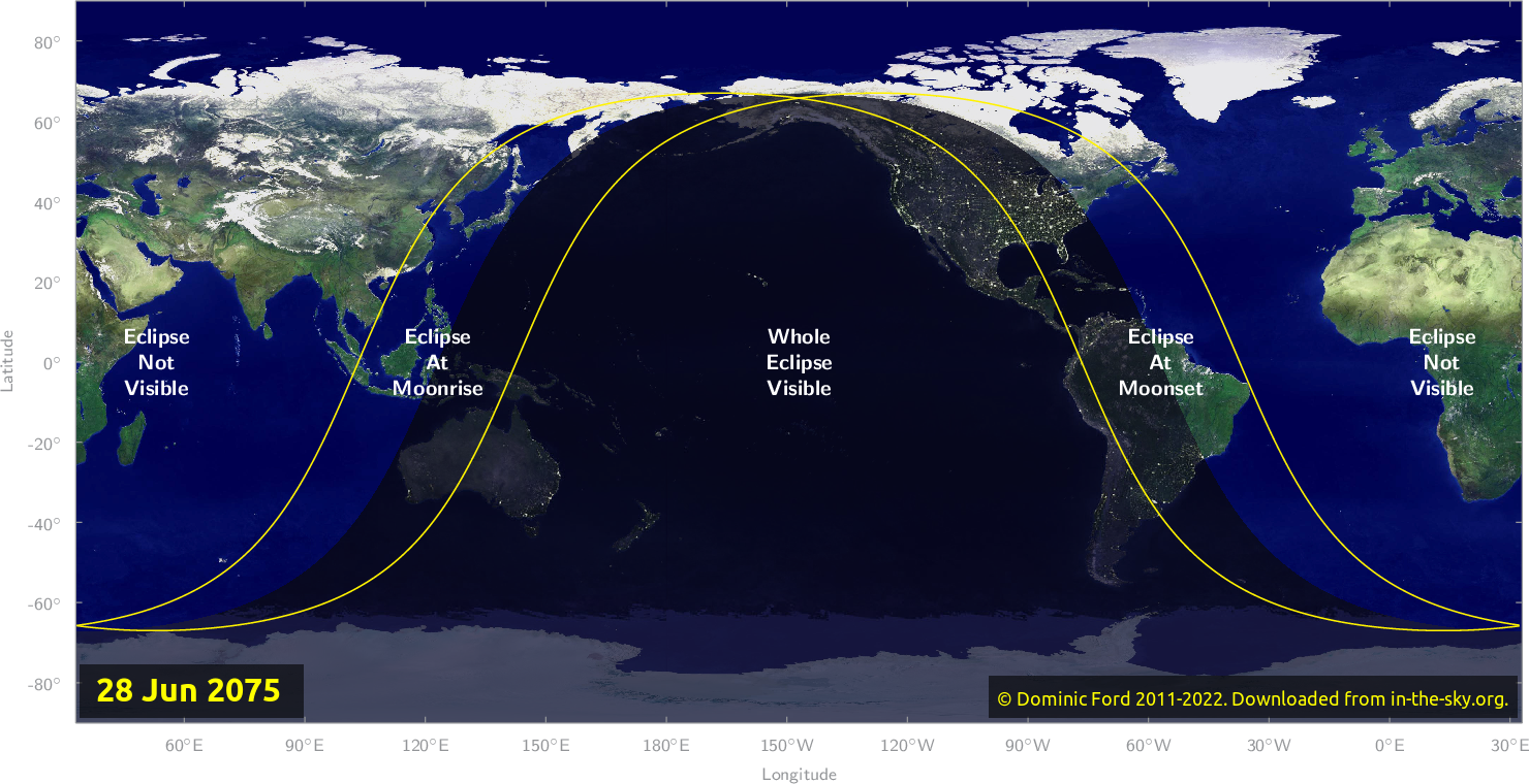 Map of where the eclipse of June 2075 will be visible.