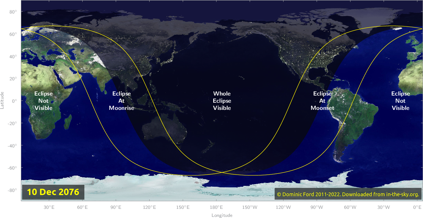 Map of where the eclipse of December 2076 will be visible.