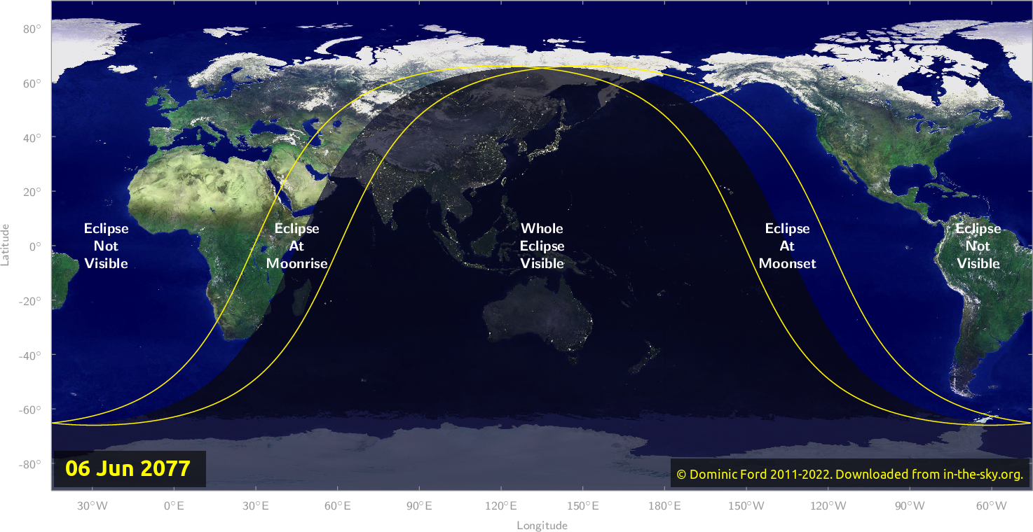 Map of where the eclipse of June 2077 will be visible.