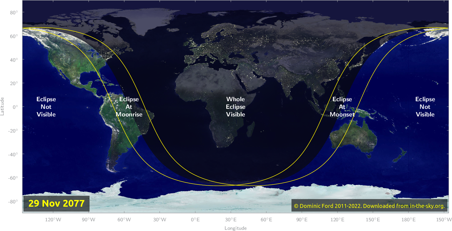 Map of where the eclipse of November 2077 will be visible.