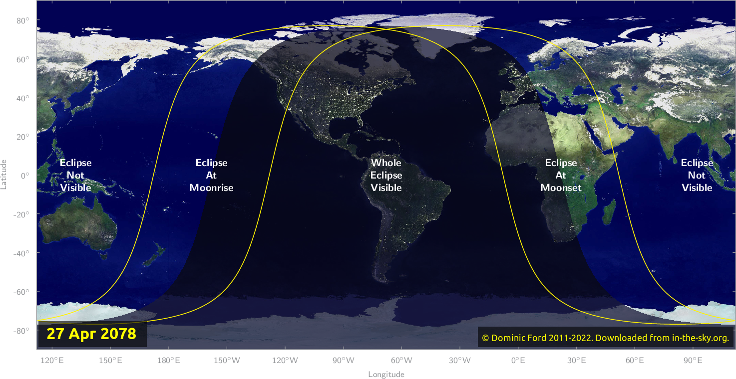 Map of where the eclipse of April 2078 will be visible.