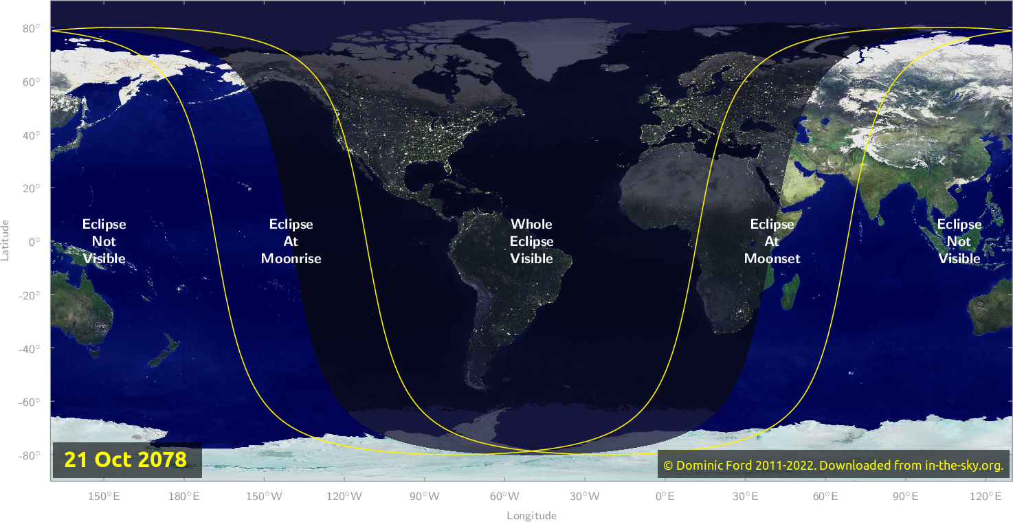Map of where the eclipse of October 2078 will be visible.