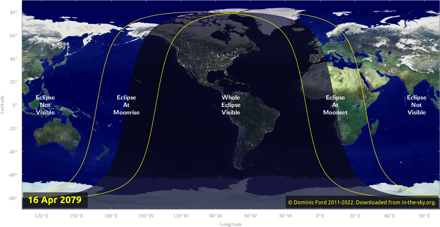 Map of where the eclipse of April 2079 will be visible.