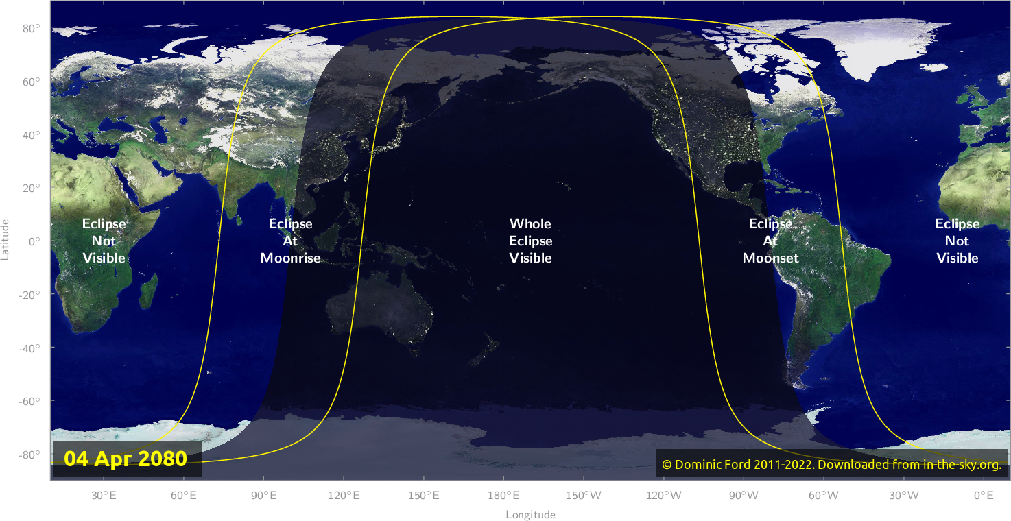 Map of where the eclipse of April 2080 will be visible.