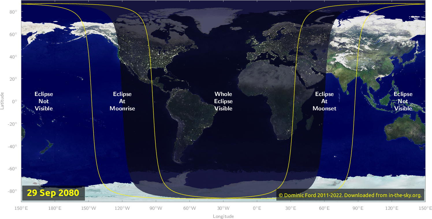Map of where the eclipse of September 2080 will be visible.
