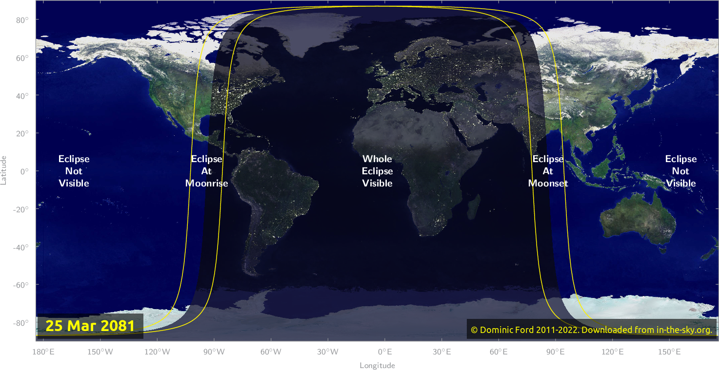 Map of where the eclipse of March 2081 will be visible.